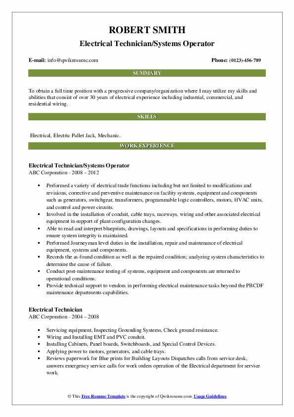 Electrical Technician Resume Samples Qwikresume