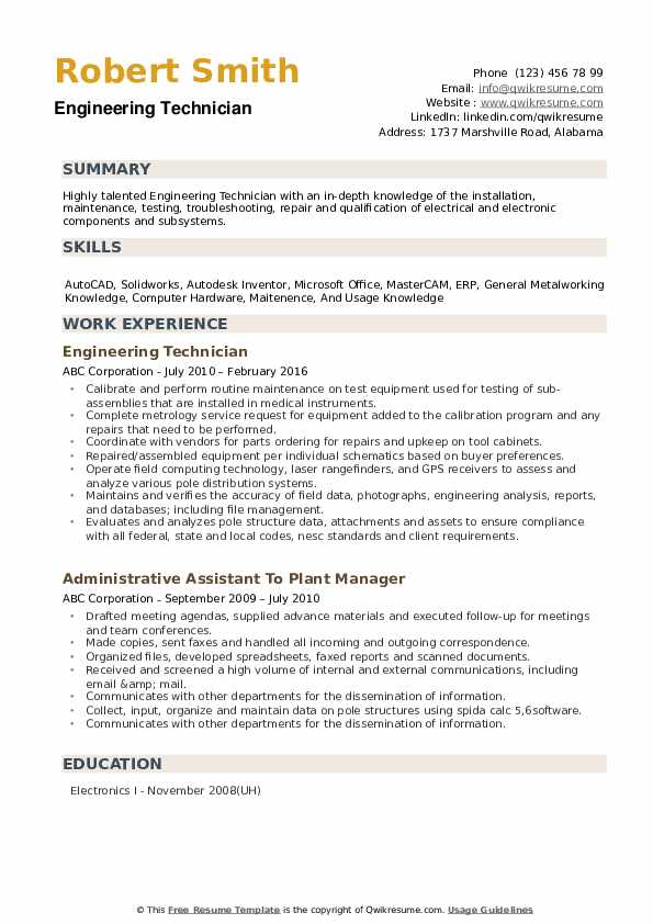 mechanical engineering technologist resume sample  resume