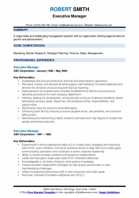 Executive Manager Resume Samples
