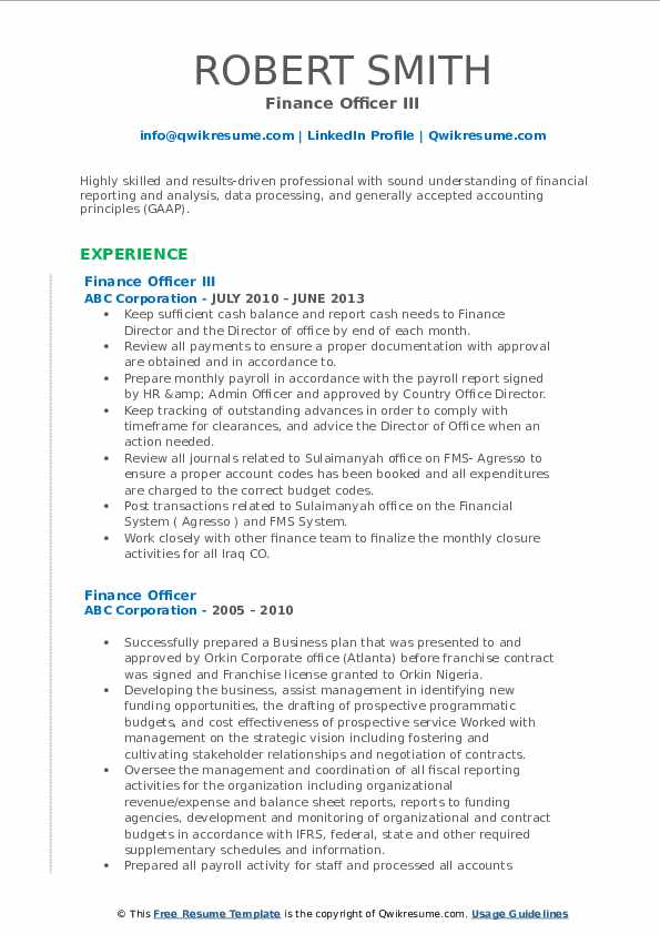 General accountant resume examples · maintained integrity of general ledger including the chart of accounts. Finance Officer Resume Samples   QwikResume