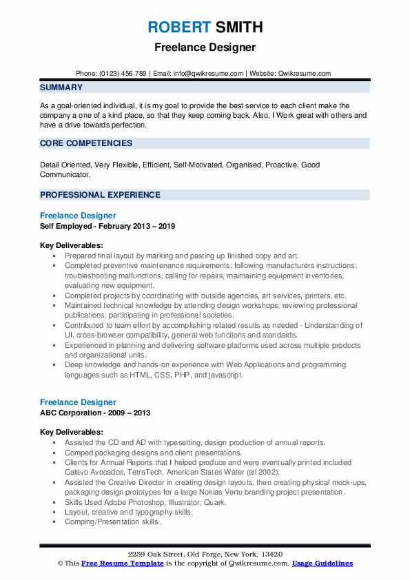 It can help you start, advance, or round out your career. Freelance Designer Resume Samples Qwikresume