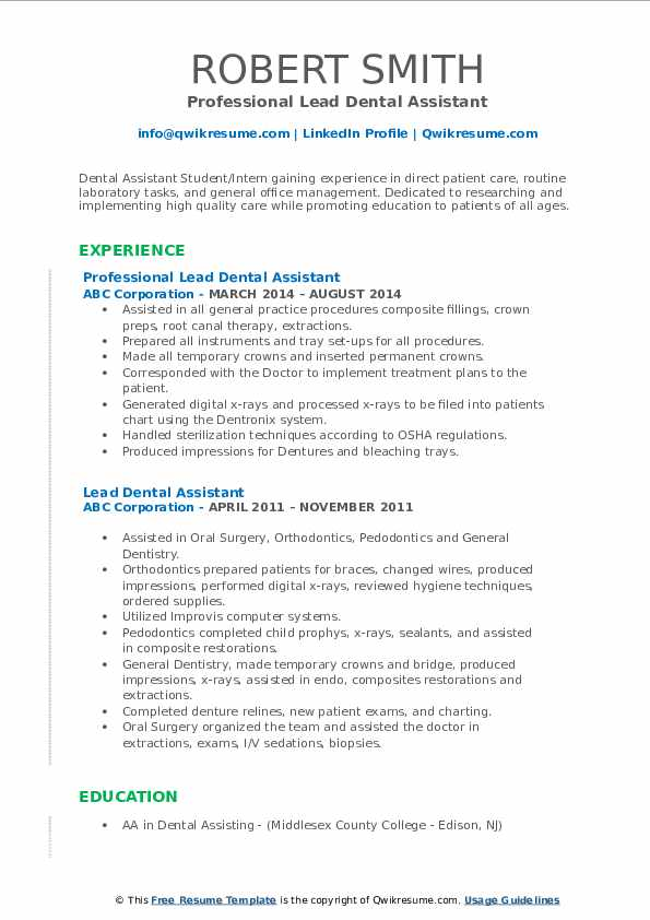 Although you can find plenty of dental assistant résumé examples on the internet,. Lead Dental Assistant Resume Samples Qwikresume