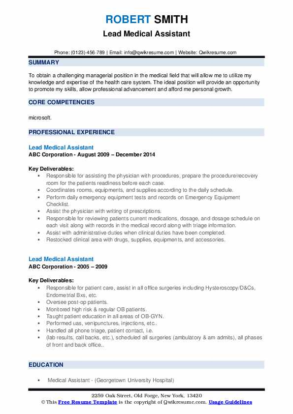 They greet patients, help the. Lead Medical Assistant Resume Objective September 2021