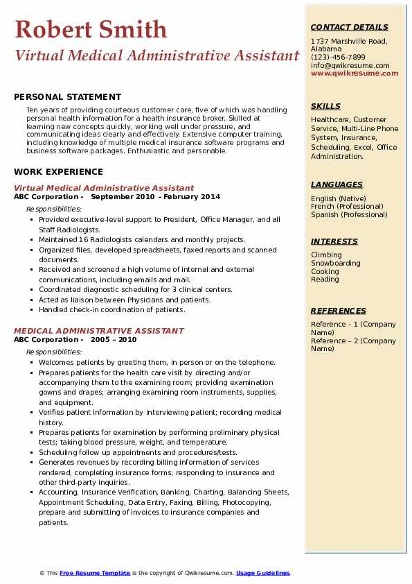 Include a few details about your hr skills in your objective, such as, to obtain a medical office manager position in which my hiring, training and. Medical Administrative Assistant Resume Samples Qwikresume