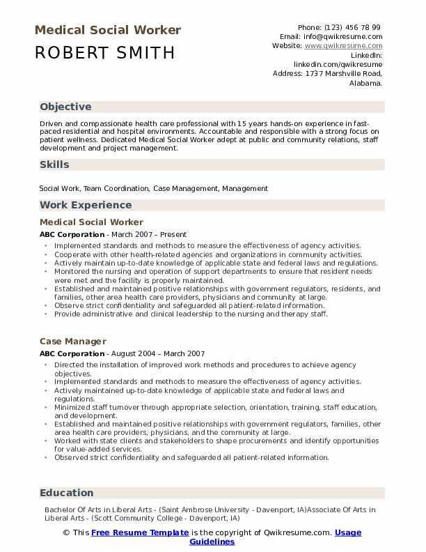 Medical Social Worker Resume Samples