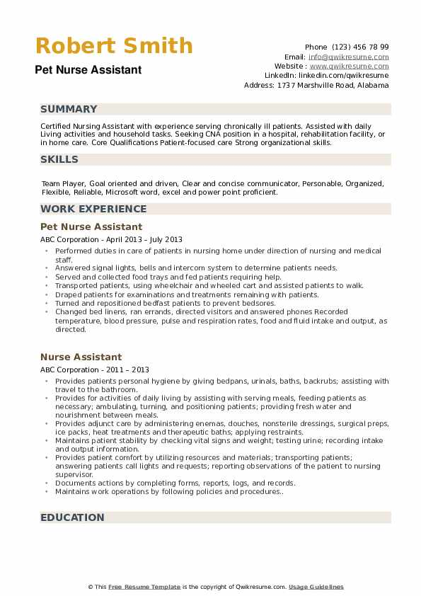Nurse Assistant Resume Samples Qwikresume