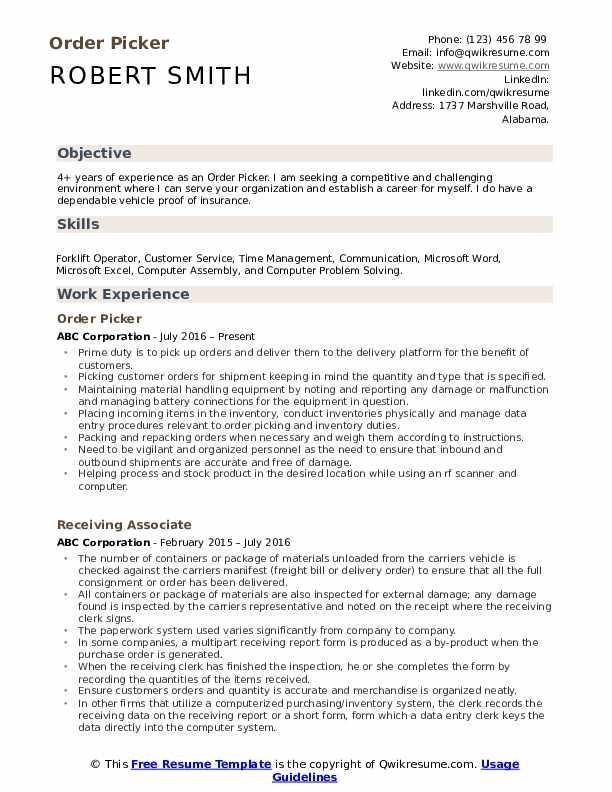 warehouse picker resume  resume sample
