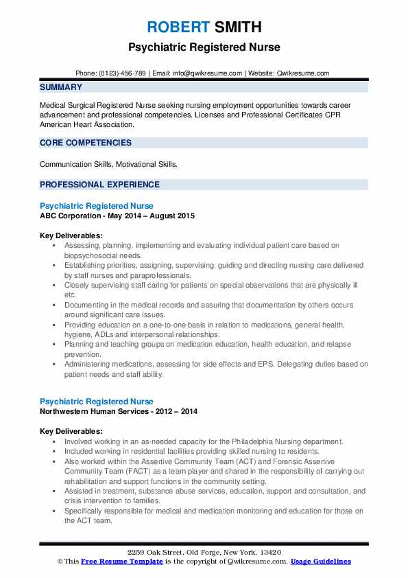 With many choices of nursing. Psychiatric Registered Nurse Resume Samples Qwikresume