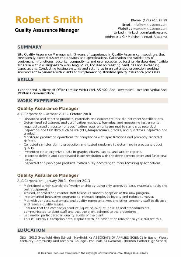 The federal resume requires a lot of detail in order to determine that you are qualified for the position under consideration. Quality Assurance Manager Resume Samples Qwikresume