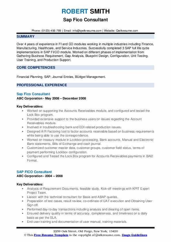 sap fico resume sample  resume sample