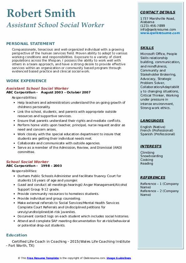 School Social Worker Resume Samples