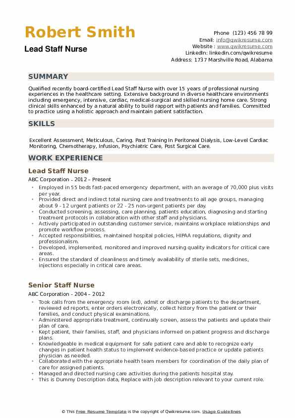 staff nurse resume