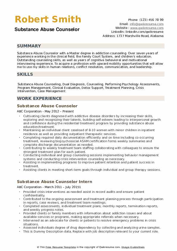 It is always moving and changing. Substance Abuse Counselor Resume Samples Qwikresume