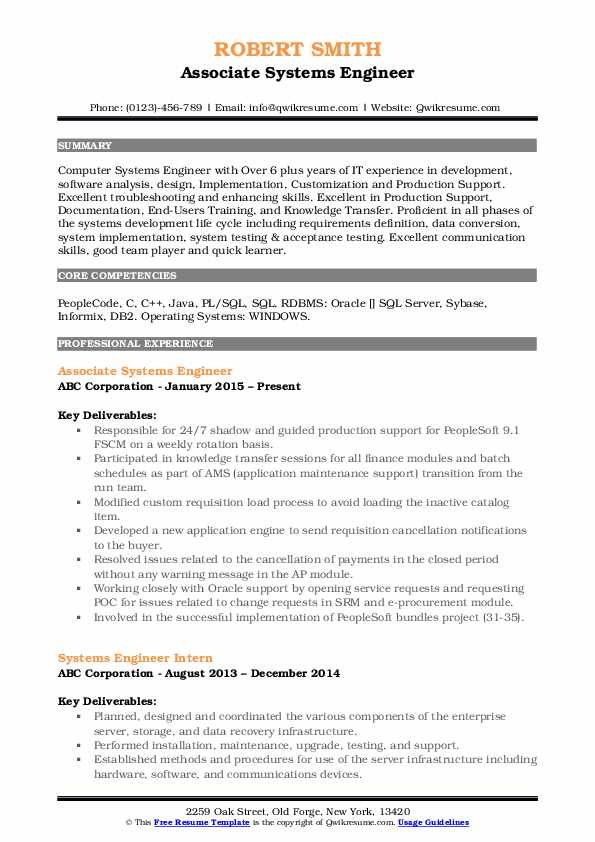 Systems Engineer Resume Samples Qwikresume