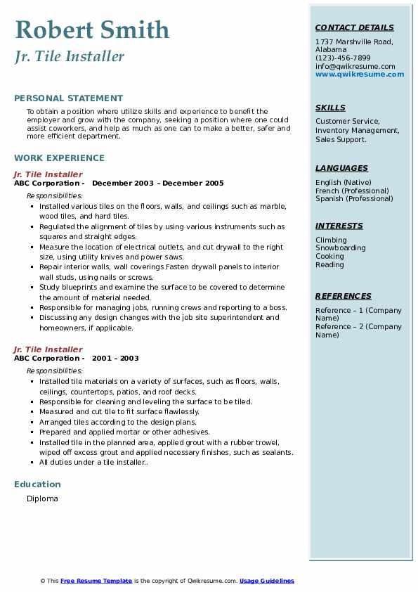 tile installer resume samples qwikresume