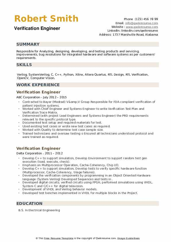 Software engineer, computer vision resume examples & samples. Verification Engineer Resume Samples Qwikresume
