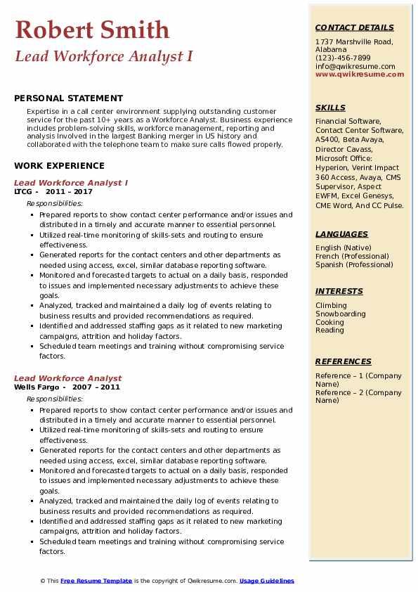 Workforce Analyst Resume Samples Qwikresume