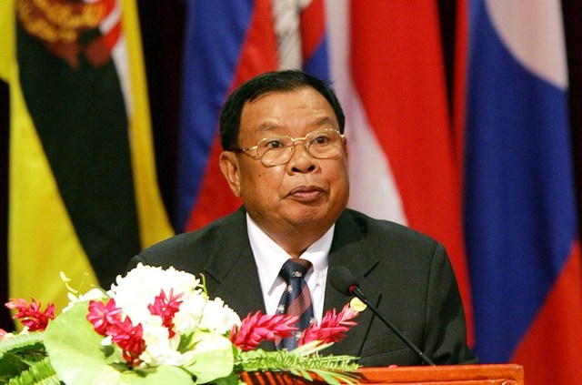 NEW LEADER. In this file picture taken on July 26, 2005, then Lao Prime Minister Bounnhang Vorachith addresses the opening ceremony of the 36th annual ministerial meeting of the Association of Southeast Asian Nations (ASEAN) in Vientiane. Hoang Dinh Nam/AFP