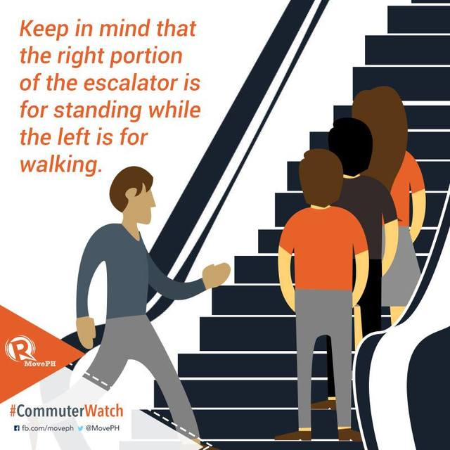 "Poster that says ""keep in mind that the right portion of the escalator is for standing while the left is for walking."" There are three people on the right standing and one on the left walking."