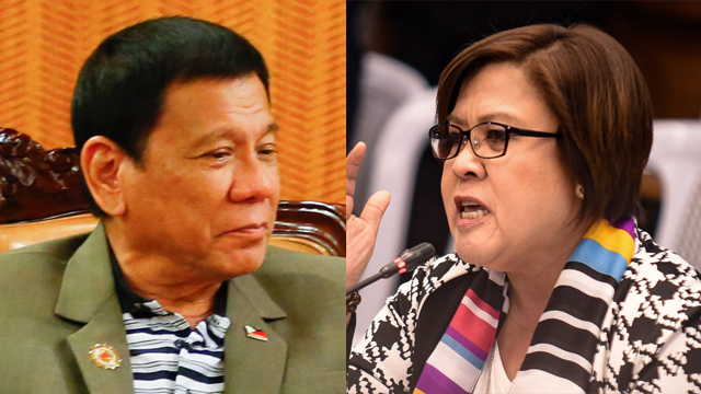 BLAME DUTERTE. Senator Leila De Lima says President Rodrigo Duterte, and not she, should be blamed for the apparent bad image of the country abroad.