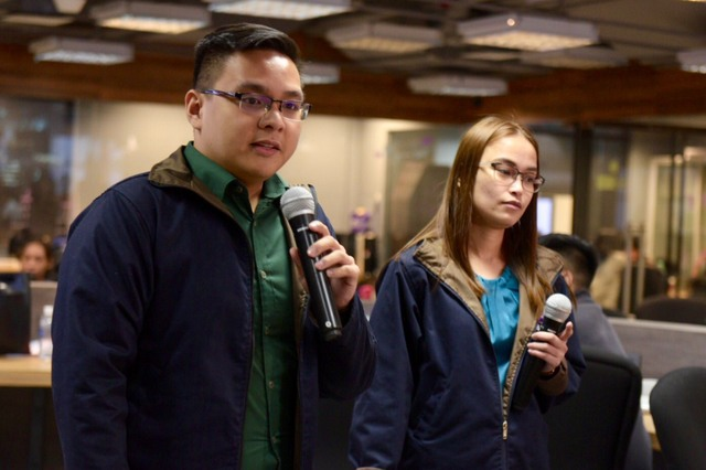 EMERALD DISTRICT. Henry Lachica (left) and Nesty Tumbaga (right) present their idea for Rappler's #HackSociety 2018. Photo by LeAnne Jazul/Rappler