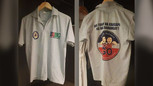 STATE-FUNDED? Opposition senatorial candidate Gary Alejano alleges that Bong Go shirt giveaways at the nationwide Liga ng Barangay event were paid for by local government funds. Photos courtesy of Gary Alejano