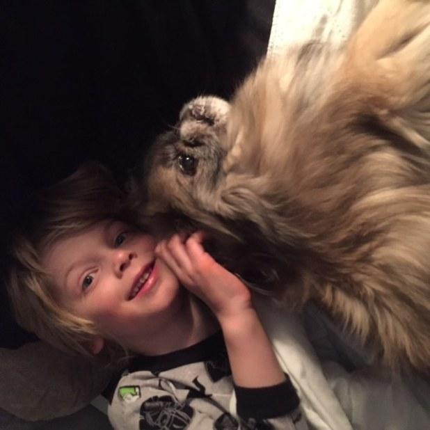 dad dog baby recreate cuddle photo
