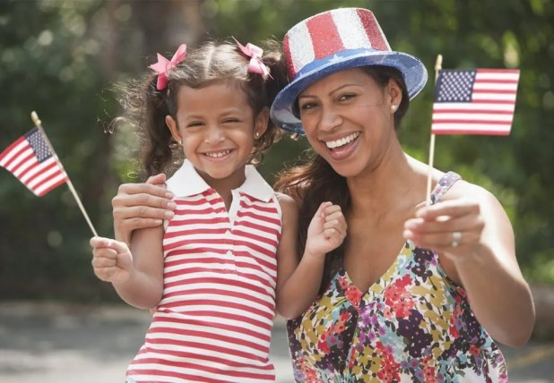 Mother and daughter celebrating the Fourth of July