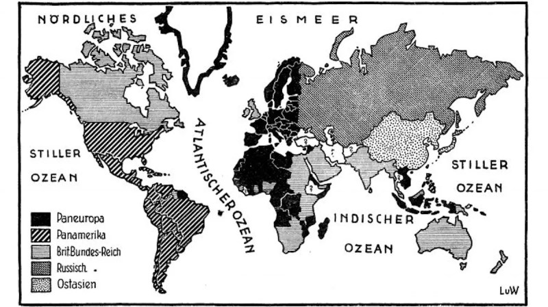 Coudenhove-Kalergi's plan for five superstates: Pan-Europe, Pan-America, East Asia, the British Empire, and the Russian Empire.