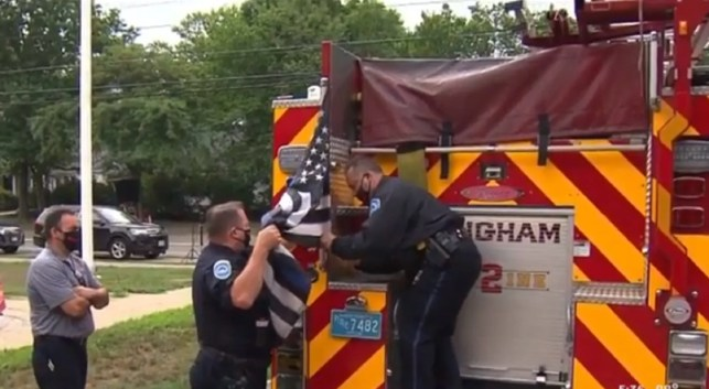 'Thin Blue Line' flags removed from town's firetrucks after complaint claims they symbolize 'white supremacy'