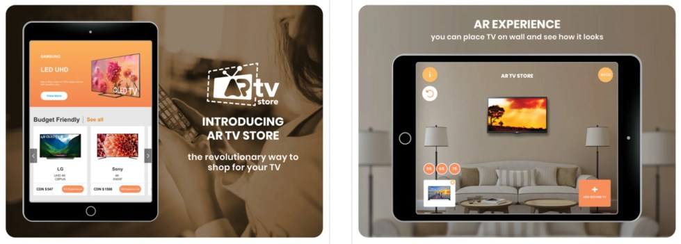The AR TV Store app for iPhone