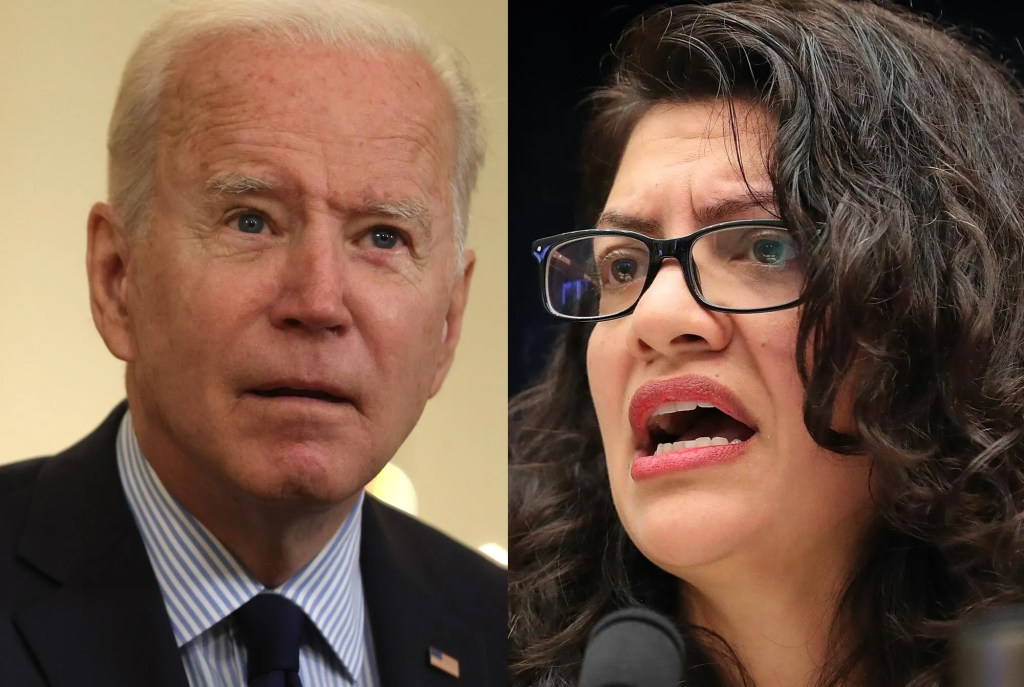 Biden praises Rep. Rashida Tlaib after she confronts him on Israel – and he mispronounces her name three times
