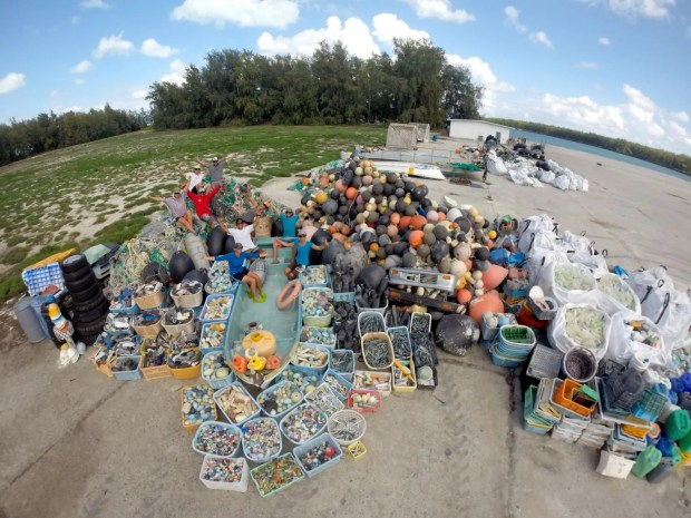 NOAA's Marine Debris team removed 1,268 rubber slippers (flip-flops) and shoes from the shorelines of Midway Atoll.