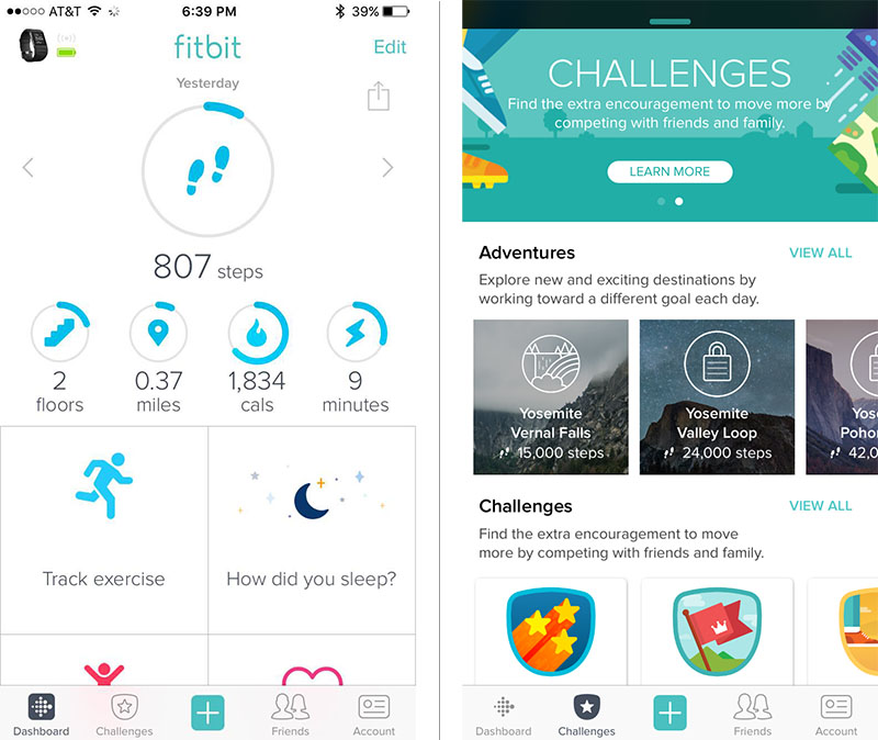 Screenshots of Fitbit app for Fitbit Surge Fitness Tracker