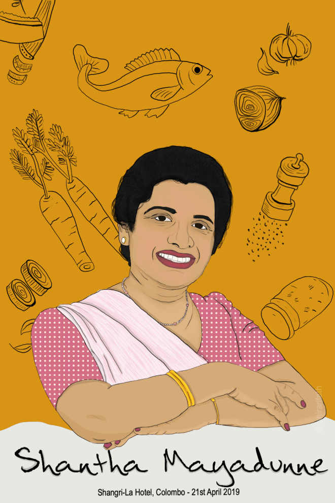 Shantha Mayadunne was an award-winning TV chef, well beloved by her viewers and best known for her quick and easy recipes. She died at the Shangri-La where she was sharing a meal with loved ones.
