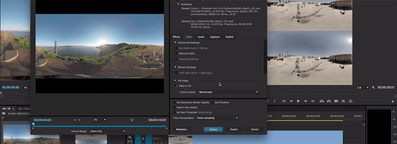 exporting VR video from Premiere Pro metadata
