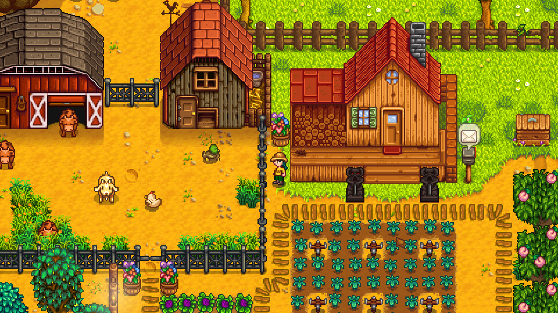 A really lovely, neat farm in Stardew Valley, with a field of greens growing next to peach trees, and a yard with cows, goats and hens.