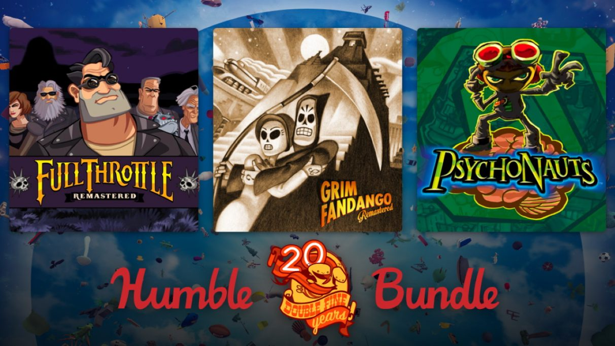 A banner showing three games from the Double Fine 20th Anniversary Humble Bundle.