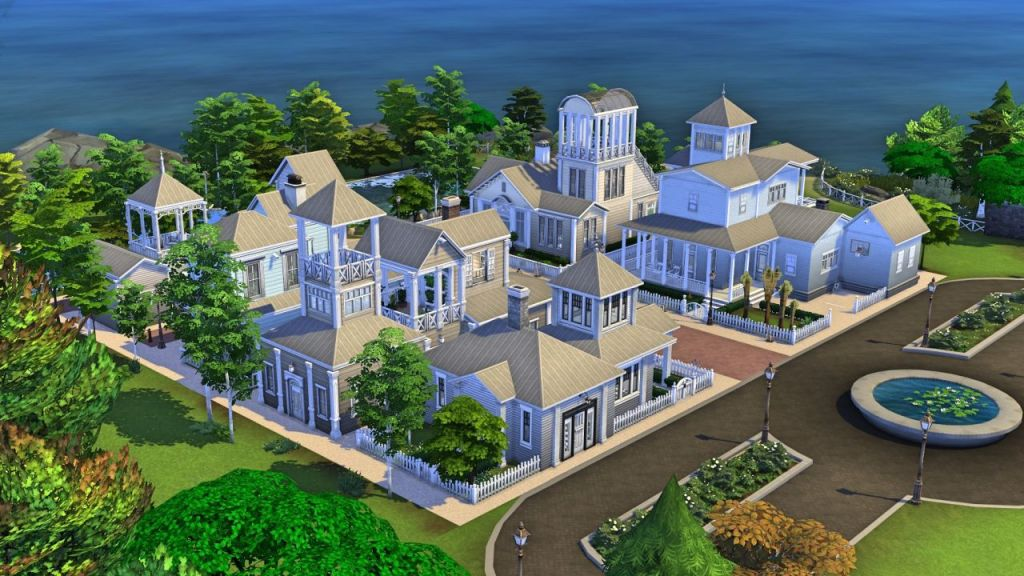A screenshot by Simoniona showing Truman's neighbourhood from The Truman Show, build in The Sims 4: a bright, seaside suburban street with houses covered in white panelling and faux-naval stylings.