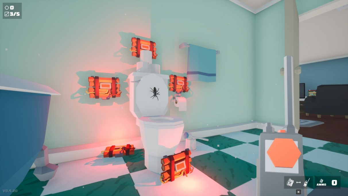 A screenshot from Kill It With Fire showing a toilet with the lid up. A large black spider is in the centre of the lid. There are five bundles of TNT arranged around the toilet. The player is holding a detonator button.