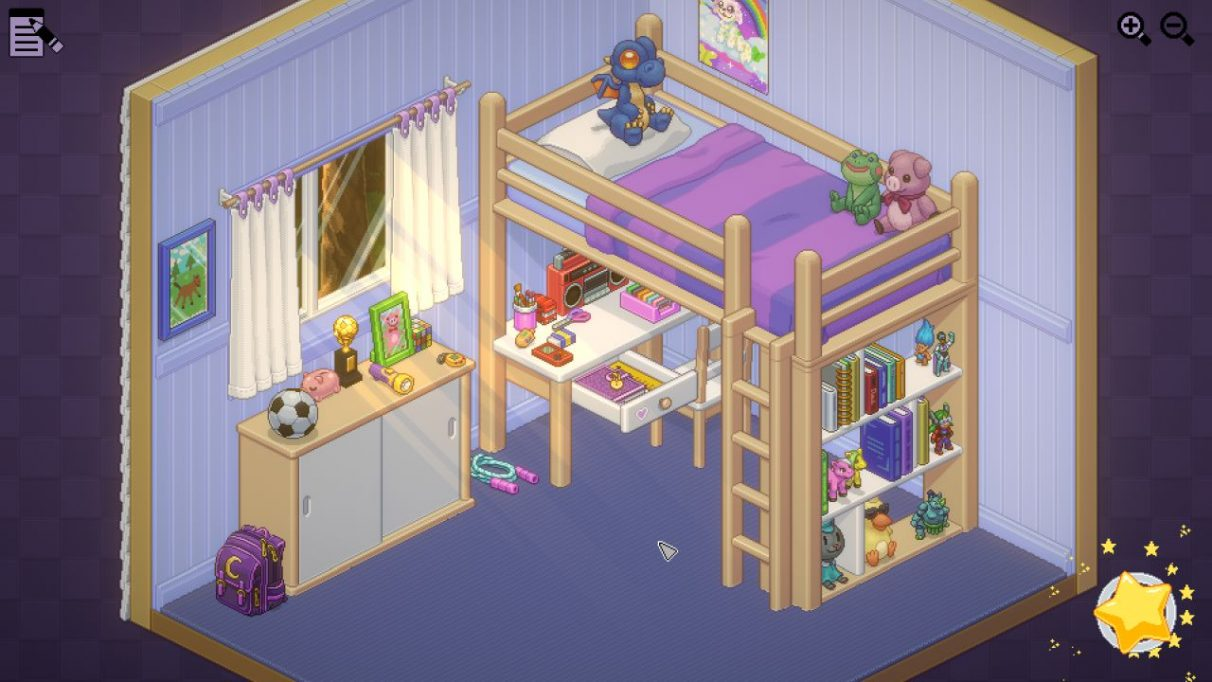 An isometric view of a bedroom for a child or young teen. There is a combined bed with desk underneath it against the wall. The themes from the items unpacked are stuffed toys, pigs, art, and football (as in soccer).