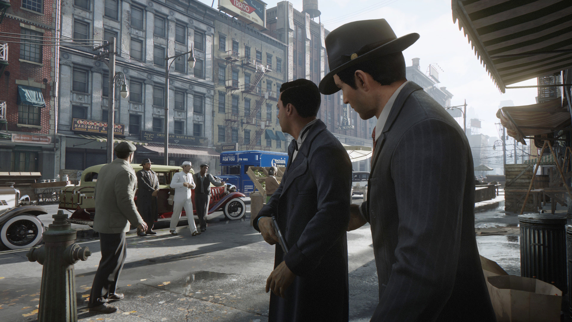 Couple of mobboys in a Mafia: Definitive Edition screenshot.