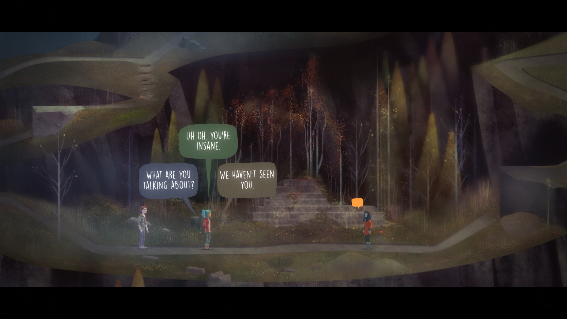 A screenshot of three characters in Oxenfree. One is displaying a choice of three speech bubbles - 'What are you talking about?', 'Uh oh. You're insane' and 'We haven't seen you'.