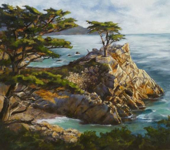 Saatchi Art   Time Stands Still  The Lone Cypress  Pebble Beach     Saatchi Art Artist Shelley Cost  Painting     Time Stands Still The Lone  Cypress