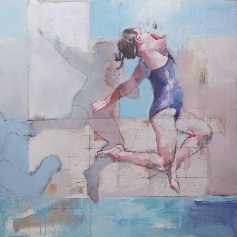 Risultati immagini per El últim salto Painting, 35.4 H x 35.4 W x 1.5 in Pilar Lopez Baez