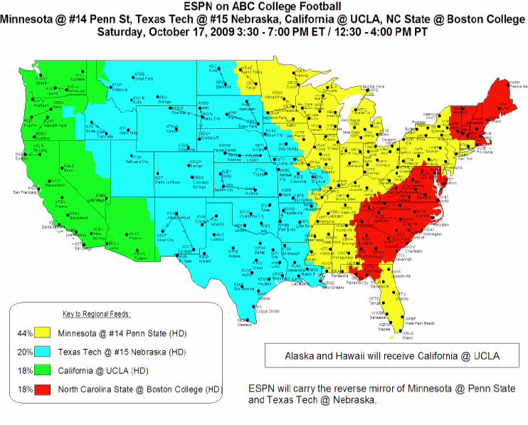 Nebraska Vs Texas Tech ABCESPN Coverage Map Corn Nation