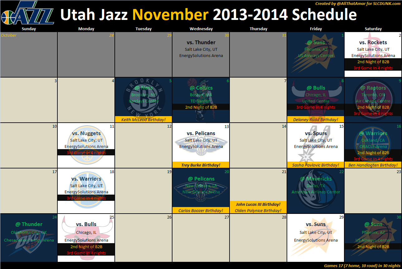 Utah Jazz Schedule High Resolution Downloads