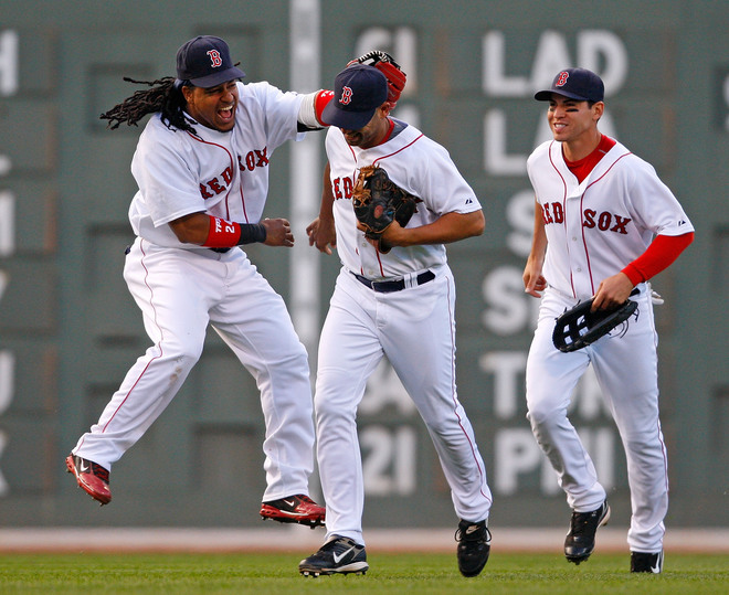 Manny Ramirez, Julio Lugo, and Jacoby Ellsbury
