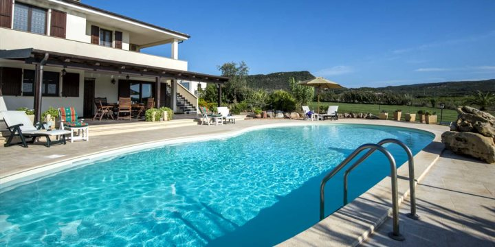 Exterior villa and pool shot, Sardinia
