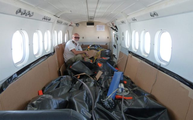 Twin Otter with a full ferry tank containing 1,000 additional US gallons can fly for 18 hours. Here, Ambrose investigates fuel leaks on Easter Island.